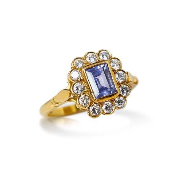 18k Yellow Gold Emerald Cut Tanzanite & Diamond Ring