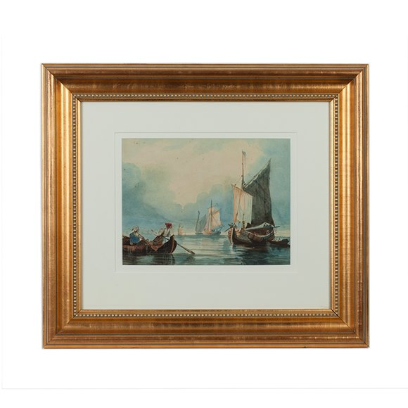 Original Watercolour Painting Dutch Seascape S. Inges 19Th C.