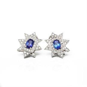 18k White Gold Tanzanite & Diamond Star Design Earrings