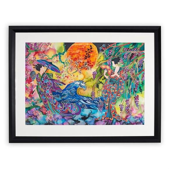 Winifred Jagger, Japanese Ladies, Silk Batik Painting 2016