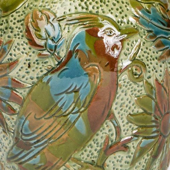 ALEXANDER LAUDER ART POTTERY SGRAFFITO BIRD VASE c.1900