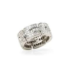 Cartier 18k White Gold Diamond Maillon Band Ring
