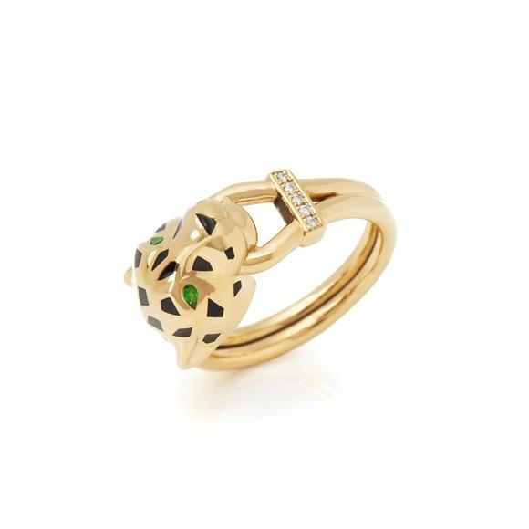 Cartier 18k Yellow Gold Diamond & Tsavorite Garnet Panthère Ring