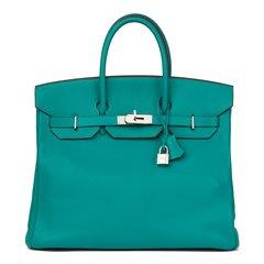 Hermès Blue Paon Chevre Mysore Leather Birkin 36cm HAC