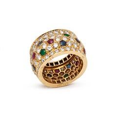 Cartier 18k Yellow Gold Mutli-Gemstone Nigeria Band Ring