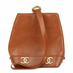 Chanel Brown Caviar Leather Vintage Logo Trim Bucket Bag