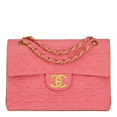 Chanel Pink Quilted Denim Vintage Maxi Jumbo XL Flap Bag