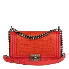 Chanel Red Lambskin & Orange Matte Alligator Leather Medium Le Boy