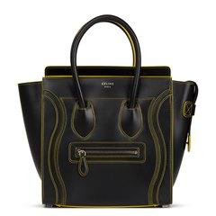 Céline Black Smooth Calfskin Debossed Micro Luggage Tote