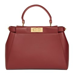 Fendi Cherry Red Calfskin Leather Regular Peekaboo