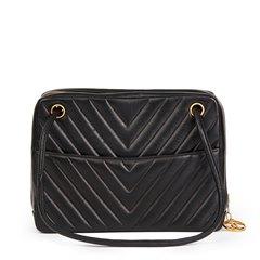 Chanel Black Chevron Quilted Lambskin Vintage Timeless Shoulder Bag