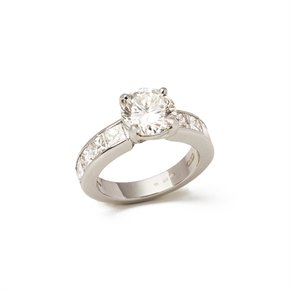 Platinum Round Brilliant Cut Diamond Engagement Ring