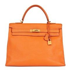 Hermès Orange H Togo Leather Kelly 35cm Sellier