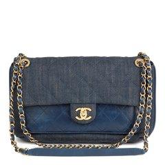Chanel Blue Quilted Denim & Blue Calfskin Leather Single Flap Bag