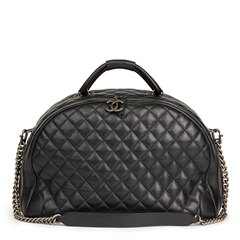 Chanel Black Quilted Calfskin Large Round Trip Bowling Bag