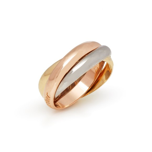 Cartier 18k Yellow, White & Rose Gold Classic Trinity Ring