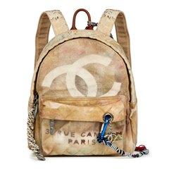 Chanel Beige Painted Canvas Medium Graffiti Backpack