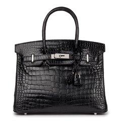 Hermès Black Shiny Porosus Crocodile Leather Birkin 30cm