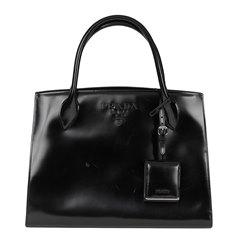 Prada Black Patent Leather Monochrome Tote