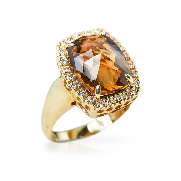14k Yellow Gold Citrine & Diamond Cocktail Ring