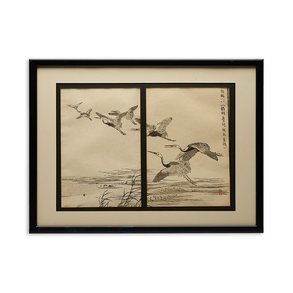 Japanese Woodblock Print Of Crane In Flight Over Water, By Baizei 19Th C.