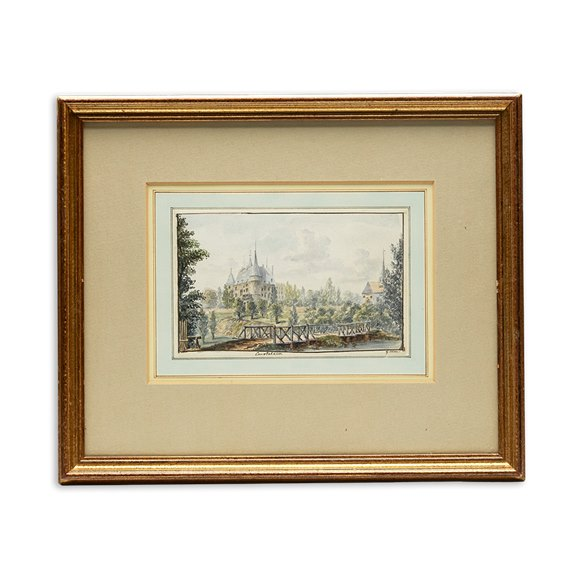 Original G.Leon Watercolour 'view De Chateau De Courtalain Burgundy', C.1785
