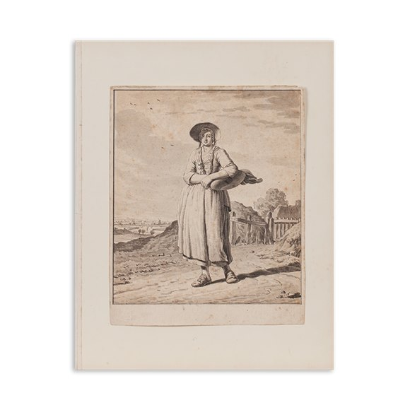 Pen And Ink 'study Of A Girl On Her Way To Market', Jordanus Hoorn (1753–1833)