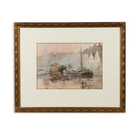 Watercolour 'Impression Crépusculaire' Louis J Reckelbus 1864-1958